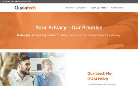Screenshot of Privacy Page qualatech.com - Terms & Privacy - Qualatech - captured July 13, 2016