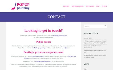 Screenshot of Contact Page popuppainting.com - Contact - PopUp Painting - captured June 18, 2019