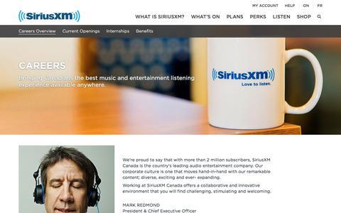 Screenshot of Jobs Page siriusxm.ca - Start a Professional Career | SiriusXM Canada - captured Jan. 19, 2016