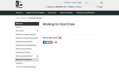 Screenshot of Jobs Page gamcare.org.uk - Working for GamCare | GamCare - captured Nov. 18, 2015