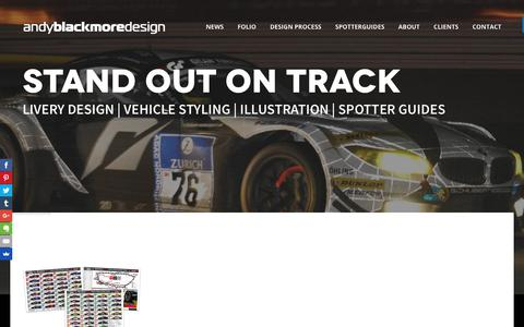 Screenshot of Home Page andyblackmoredesign.com - Andy Blackmore Design - Livery Design & Vehicle Styling - captured July 29, 2018