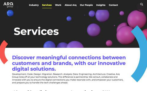 Screenshot of Services Page arq.group - Ideas without limits - captured June 28, 2019