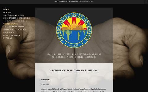 Screenshot of Testimonials Page skinexam.org - Testimonials — Arizona Skin Cancer Foundation - captured Sept. 25, 2016