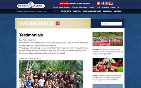 Screenshot of Testimonials Page kittatinny.com - Testimonials | Delaware Canoeing | Kayaking The Delaware River | White Water Rafting | Poconos Zip Lining - captured Sept. 19, 2014