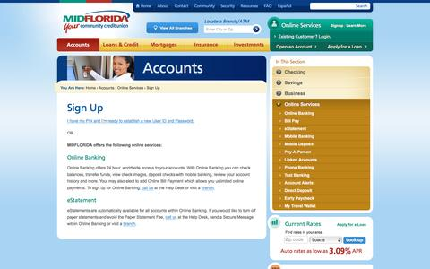 Screenshot of Signup Page midflorida.com - Online Banking & Services Sign-Up | MIDFLORIDA Credit Union - captured Nov. 18, 2016