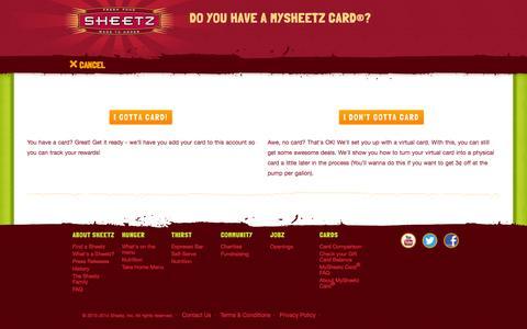 Screenshot of Signup Page sheetz.com - Sheetz // User Registration - captured Oct. 26, 2014