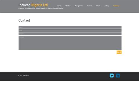 Screenshot of Contact Page induconltd.com - contact inducon ltd - captured Nov. 19, 2016