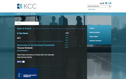 Screenshot of Press Page kccllc.com - Kurtzman Carson Consultants › In the News ‹ News & Events - captured Sept. 19, 2014