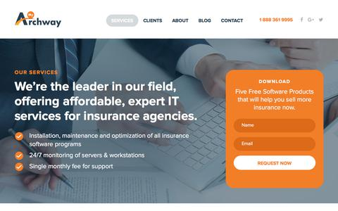 Screenshot of Services Page myarchway.com - Our Services - My Archway   My Archway - captured Oct. 8, 2017
