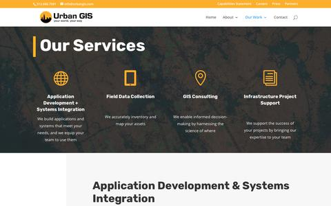 Screenshot of Services Page urbangis.com - Services | Urban GIS - captured July 5, 2019