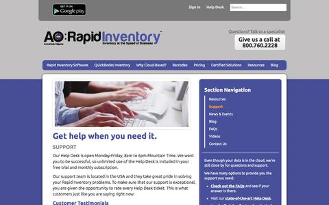 Screenshot of Support Page rapidinventory.com - QuickBooks Inventory Software Training & Support   AO: Rapid Inventory - captured July 5, 2017