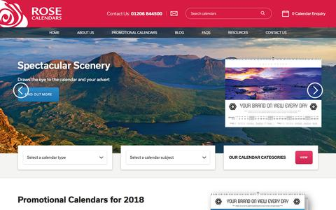 Screenshot of Home Page rosecalendars.co.uk - Promotional Calendars & Corporate Business Calendars 2018 - captured Oct. 25, 2017
