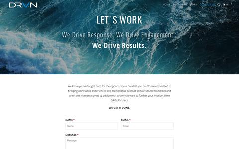 Screenshot of Contact Page drvnpartners.com - LET'S WORK - DRVN Partners LLC - captured Oct. 11, 2017