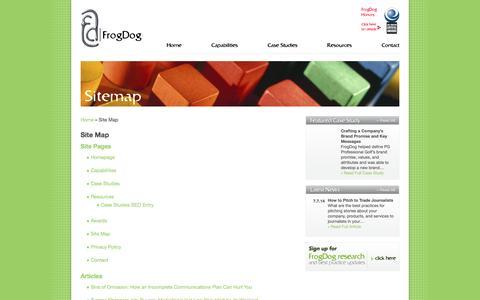 Screenshot of Site Map Page frog-dog.com - FrogDog - captured Sept. 19, 2014