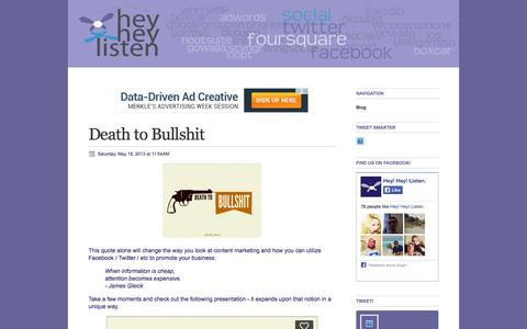 Screenshot of Home Page Blog heyheylisten.com - Blog - Hey! Hey! Listen. - captured Sept. 30, 2014