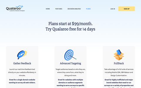 Screenshot of Pricing Page qualaroo.com - Plans – Customer Decision Analysis   Qualaroo - captured Dec. 26, 2017