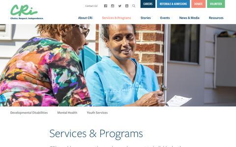 Screenshot of Services Page mycri.org - Services & Programs   CRi - Community - captured Nov. 1, 2018