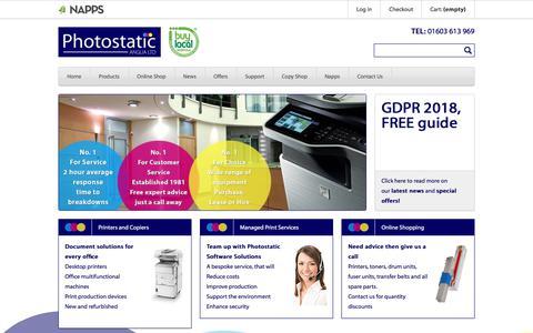 Screenshot of Home Page photostatic.com - Photocopiers Norwich Copiers Norwich Photocopiers Norfolk Copiers Norfolk, Sharp copier, samsung copiers, Oki printers - Photostatic - captured Sept. 24, 2018