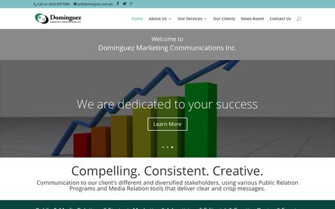 Screenshot of Home Page dominguezmarketing.net - PR Agency Philippines | Dominguez Marketing Communications Inc. - captured Feb. 9, 2016