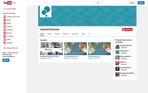 Screenshot of YouTube Page youtube.com - InspiraPublicidad  - YouTube - captured Oct. 23, 2014