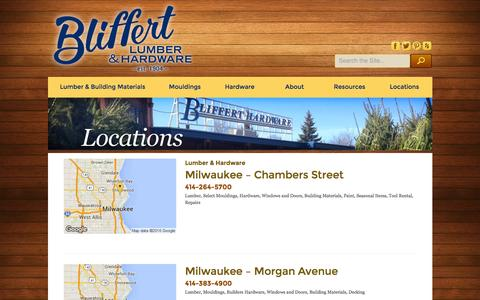 Screenshot of Locations Page bliffertlumber.com - Locations - Bliffert Lumber - captured Feb. 7, 2016