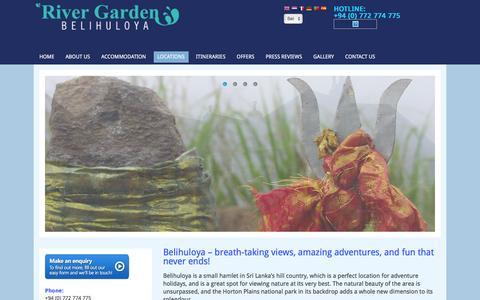 Screenshot of Locations Page rivergardenresort.com - Belihul Oya - Historical - Nature Views - Honeymoon Destinations Sri Lanka - captured Feb. 15, 2016