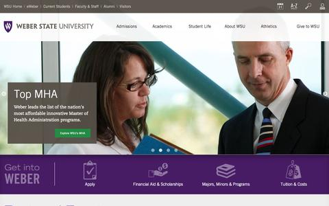 Screenshot of Home Page weber.edu - Weber State University - captured Oct. 22, 2015