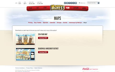 Screenshot of Maps & Directions Page moreyspiers.com - Plan · Morey's Piers & Beachfront Water Parks - captured Sept. 22, 2014