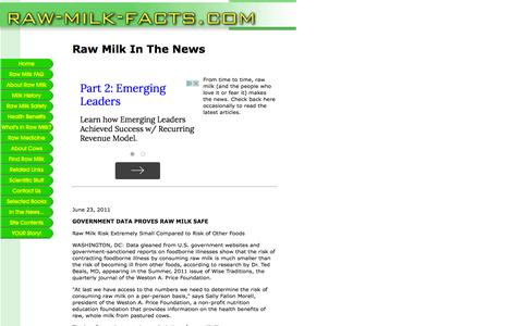 Screenshot of Press Page raw-milk-facts.com - Raw Milk in the News - captured June 2, 2016