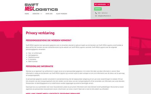 Screenshot of Privacy Page swiftonline.nl - Privacy Verklaring | Swift Koeriers - captured May 29, 2019
