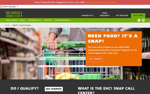 Screenshot of Contact Page endhungerct.org - SNAP / Food Stamps - End Hunger Connecticut! - captured Oct. 25, 2018