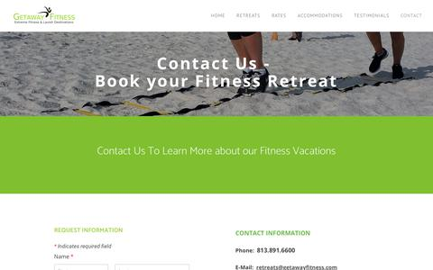 Screenshot of Contact Page getawayfitness.com - Contact Us | Weight Loss Spa | Fitness Holiday | Fat Camps | Getaway Fitness  - GETAWAY FITNESS - captured July 18, 2018