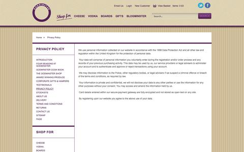 Screenshot of Privacy Page godminster.com - Godminster Vintage: Privacy Policy for Godminster - captured Sept. 23, 2014