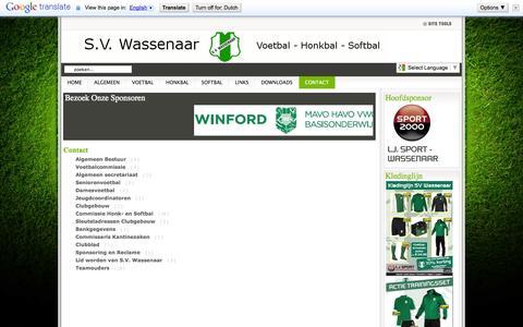 Screenshot of Contact Page svwassenaar.nl - Contact - captured Sept. 30, 2014