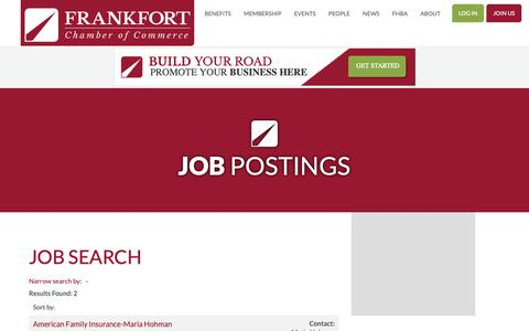 Screenshot of Jobs Page frankfortchamber.com - Job Search - Job Postings | Frankfort Chamber of Commerce - captured Oct. 21, 2018