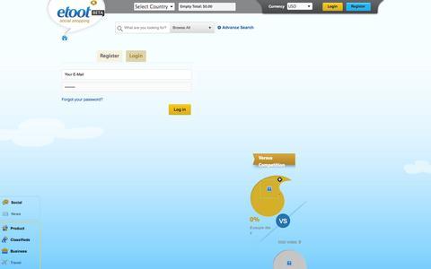Screenshot of Login Page etoot.com - Social Shopping marketplace | Etoot - captured Oct. 27, 2014