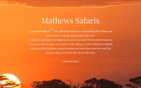 Screenshot of Home Page mathewssafaris.com - Mathews Safaris | African Safari Experts - captured Oct. 17, 2018