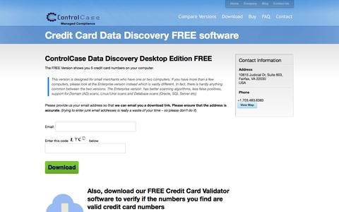 Screenshot of Trial Page controlcase.com - Credit Card Data Discovery FREE software - Credit Card Data Discovery Software for PCI DSS compliance - Find Cardholder Data (CHD) - captured May 7, 2017