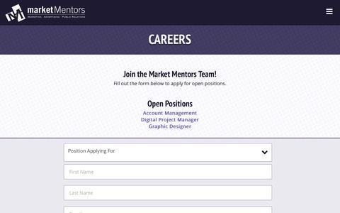 Screenshot of Jobs Page marketmentors.com - Careers : Market Mentors - captured Nov. 18, 2016