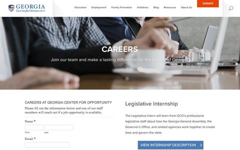 Screenshot of Jobs Page georgiaopportunity.org - Careers   Georgia Center For Opportunity - captured Jan. 16, 2018