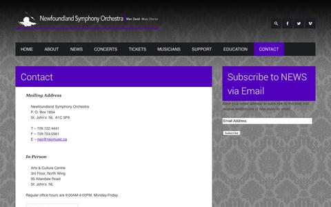 Screenshot of Contact Page nsomusic.ca - Contact  Newfoundland Symphony Orchestra - captured Oct. 26, 2014