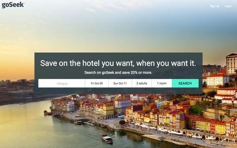 Screenshot of Home Page dealscience.com - goSeek.com   Hotel Discounts, Deals, and Special Offers - captured Oct. 7, 2015