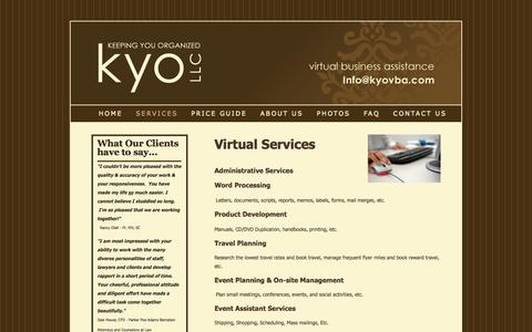 Screenshot of Services Page kyovba.com - Kyo, Virtual Assitance - Services - captured Oct. 27, 2014