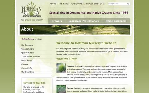 Screenshot of About Page hoffmannursery.com - About - Hoffman Nursery - captured Oct. 2, 2014