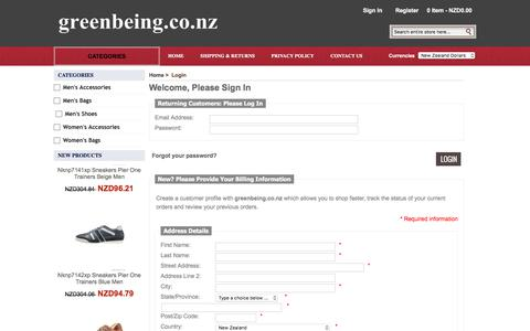 Screenshot of Login Page greenbeing.co.nz - Login : Men's and Women's Clothes & Shoes & Bags & Accessories   greenbeing.co.nz - captured Sept. 20, 2017