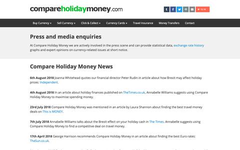 Screenshot of Press Page compareholidaymoney.com - Press and Media Information | Compare Holiday Money - captured Sept. 29, 2018
