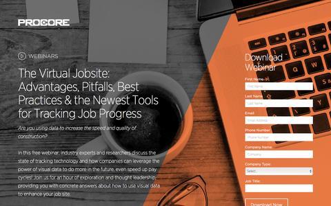 Screenshot of Landing Page procore.com - The Virtual Jobsite - captured April 5, 2016