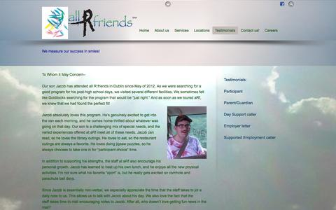 Screenshot of Testimonials Page allrfriends.com - Testimonials - captured Sept. 30, 2014