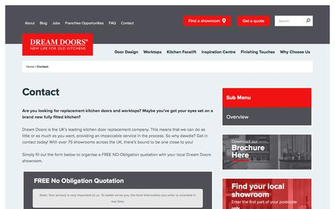 Screenshot of Contact Page dreamdoors.co.uk - Contact Us for a Call Back or Quote for your Kitchen and Bedroom Doors - captured Jan. 19, 2018