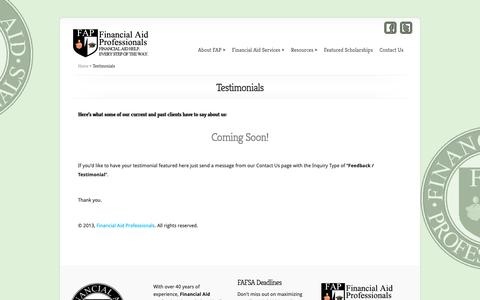 Screenshot of Testimonials Page financialaidpros.com - Testimonials - Financial Aid Professionals - captured Oct. 10, 2018